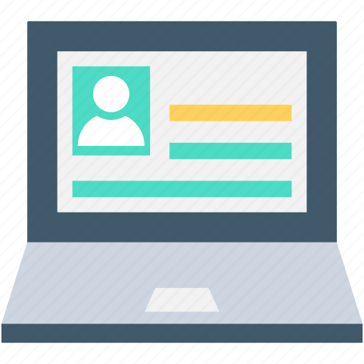 biography, laptop, notebook, online resume, online tutor icon