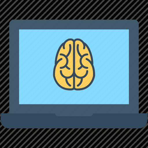 brain, laptop, laptop pc, macbook, notebook icon