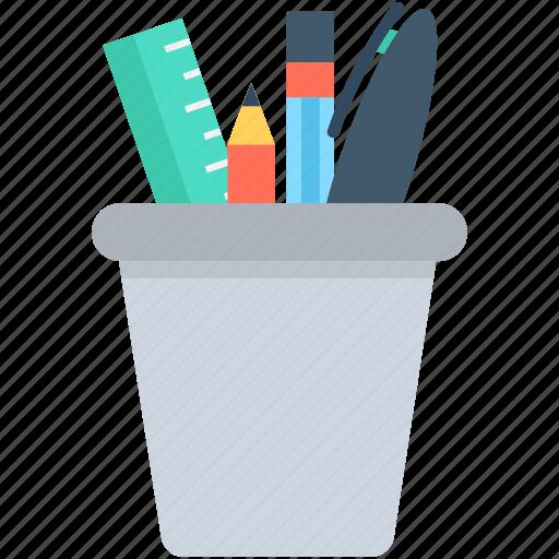 geometry box, pencil box, pencil case, pencil pot, stationery icon