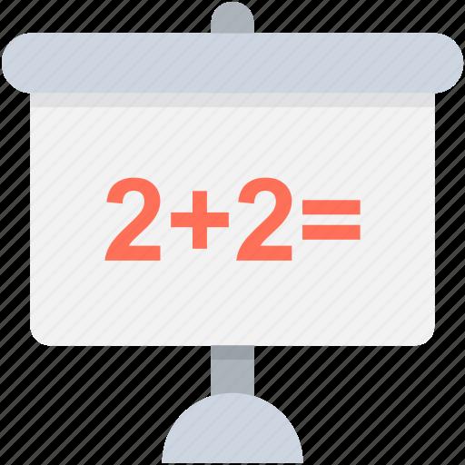 basic maths, education, knowledge, mathematics, whiteboard icon