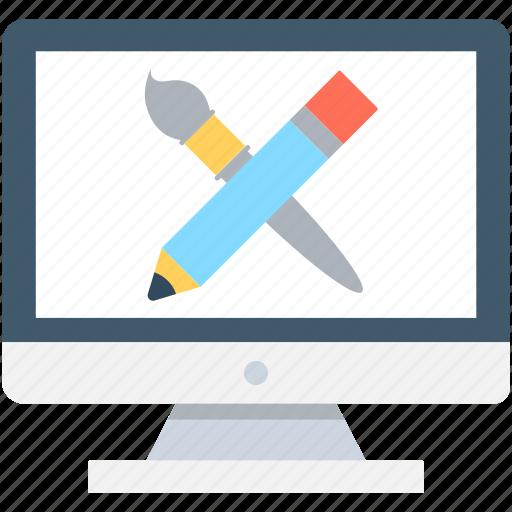 artwork, graphic designing, graphic editor, monitor, pencil icon