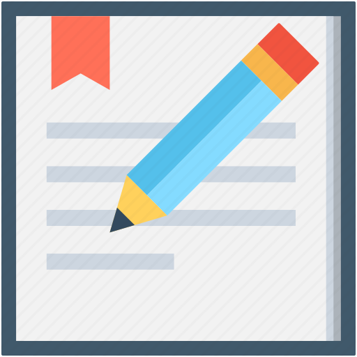 notepad diary, paper, pencil, writing icon