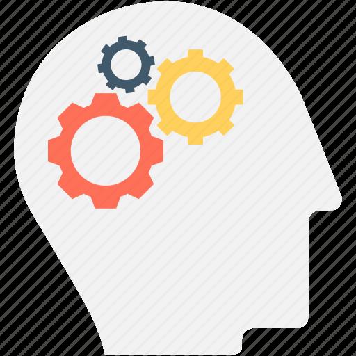 brain, brainstorm, cog, gear, thinking icon