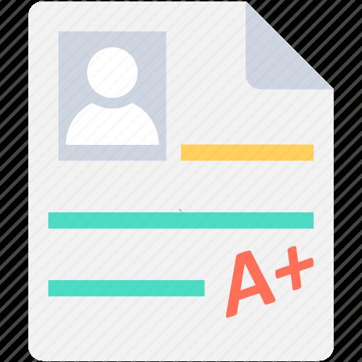 a plus, a plus grade, exam grade, grade report, grade sheet icon