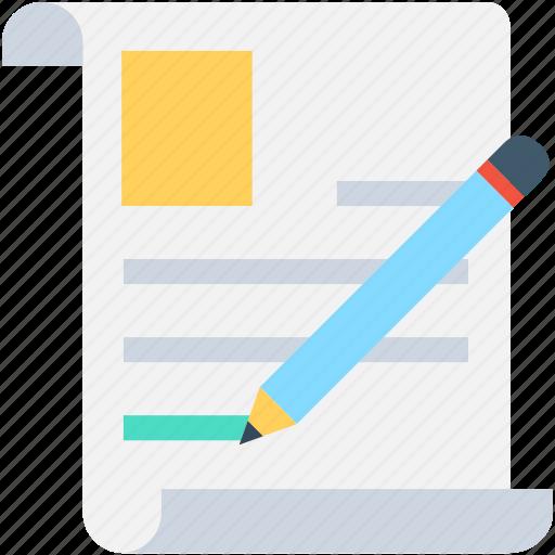 cv composing, paper, pencil, signature, writing icon