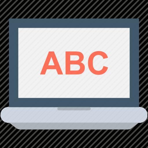 abc, alphabets, e learning, english, laptop icon