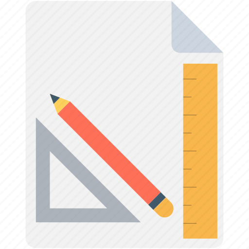 drafting, paper, pencil, ruler, set square icon