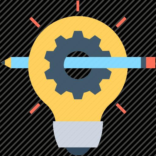artwork, bulb, cog, creativity, designing icon