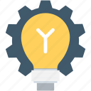 bulb, cog, creativity, idea, light bulb icon