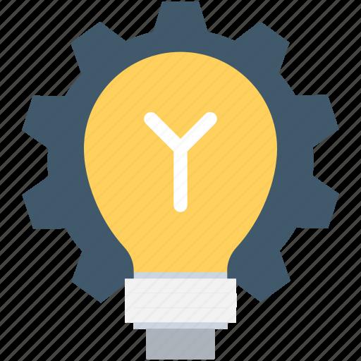 bulb, cog, creativity, idea, light bulb icon