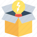 box, bulb, idea, package, solution icon