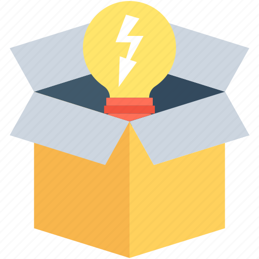 box, bulb, idea, package, solution icon