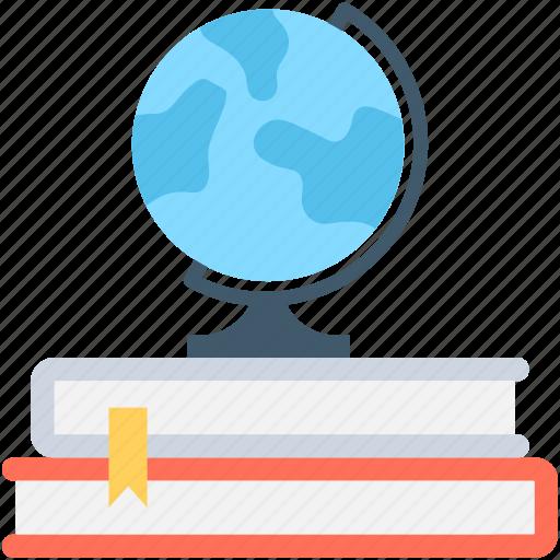 books, desk globe, globe, knowledge, library icon