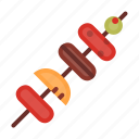 food, healthy, meal, meat, sausage, skewer, vegetable icon