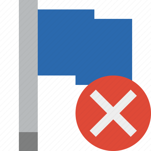 blue, cancel, flag, location, marker, pin, point icon