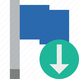blue, download, flag, location, marker, pin, point icon