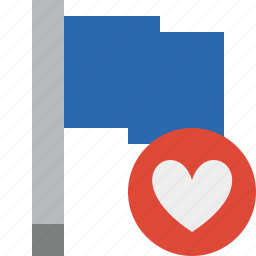 blue, favorites, flag, location, marker, pin, point icon