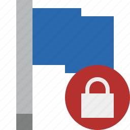 blue, flag, location, lock, marker, pin, point icon