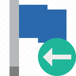 blue, flag, location, marker, pin, point, previous icon
