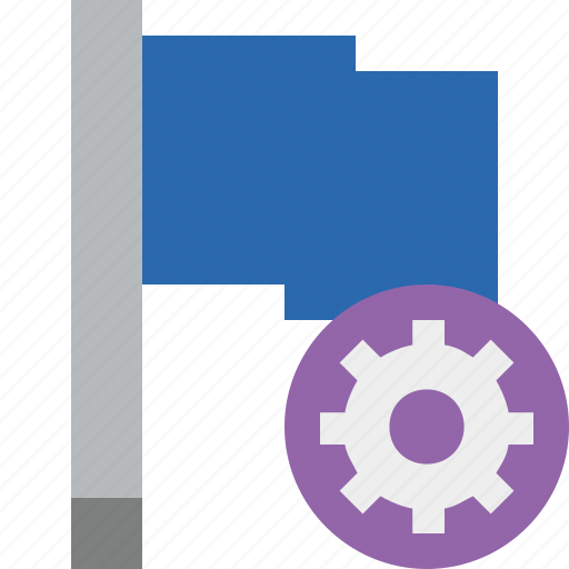 blue, flag, location, marker, pin, point, settings icon