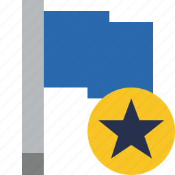 blue, flag, location, marker, pin, point, star icon