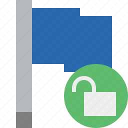 blue, flag, location, marker, pin, point, unlock icon