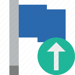 blue, flag, location, marker, pin, point, upload icon