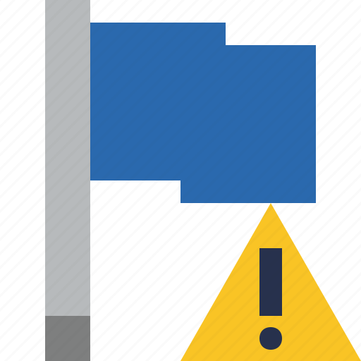 blue, flag, location, marker, pin, point, warning icon