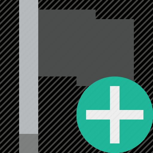 add, dark, flag, location, marker, pin, point icon