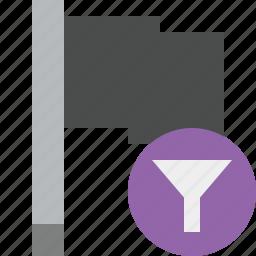 dark, filter, flag, location, marker, pin, point icon