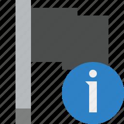 dark, flag, information, location, marker, pin, point icon