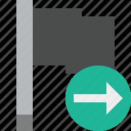 dark, flag, location, marker, next, pin, point icon