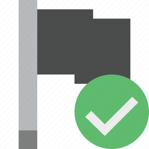 dark, flag, location, marker, ok, pin, point icon