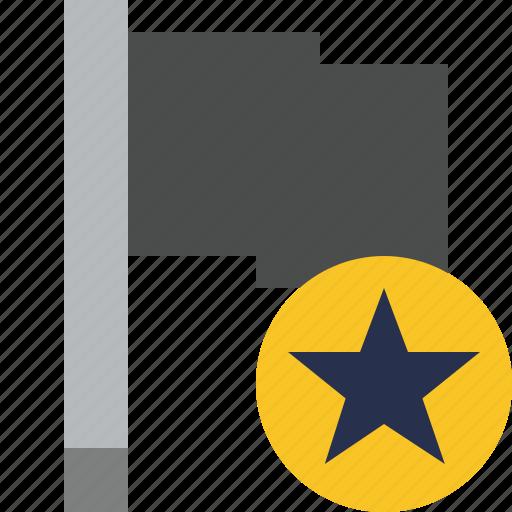 dark, flag, location, marker, pin, point, star icon