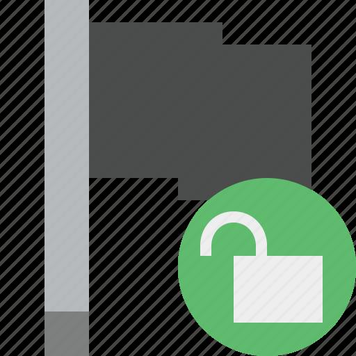 dark, flag, location, marker, pin, point, unlock icon
