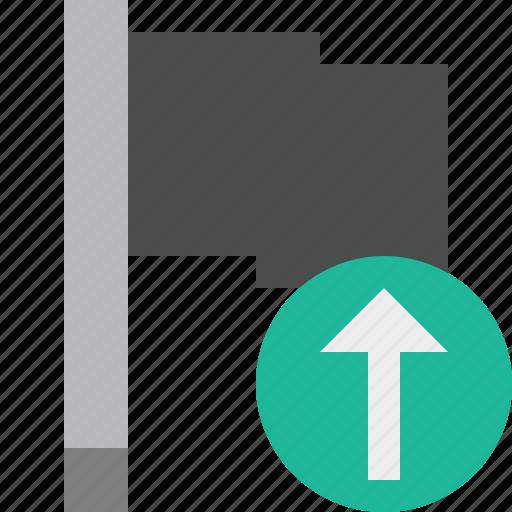 dark, flag, location, marker, pin, point, upload icon