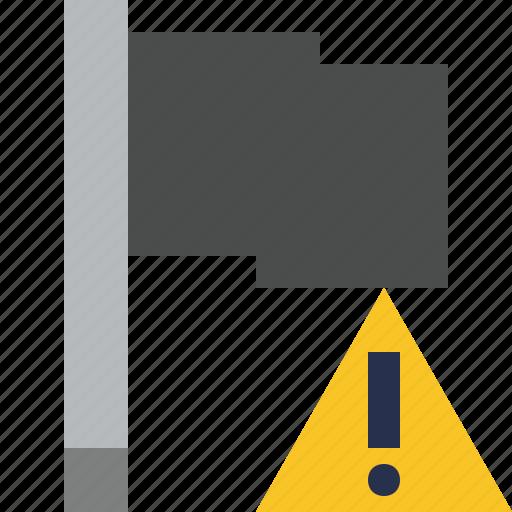 dark, flag, location, marker, pin, point, warning icon