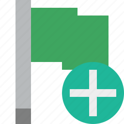 add, flag, green, location, marker, pin, point icon
