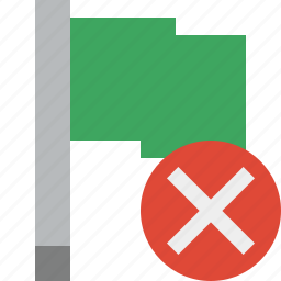 cancel, flag, green, location, marker, pin, point icon