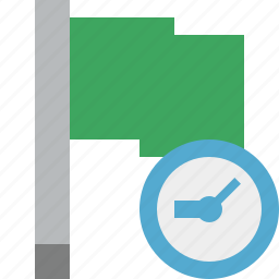 clock, flag, green, location, marker, pin, point icon