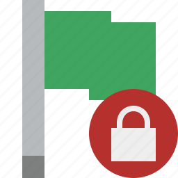 flag, green, location, lock, marker, pin, point icon