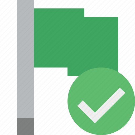 flag, green, location, marker, ok, pin, point icon