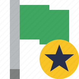 flag, green, location, marker, pin, point, star icon