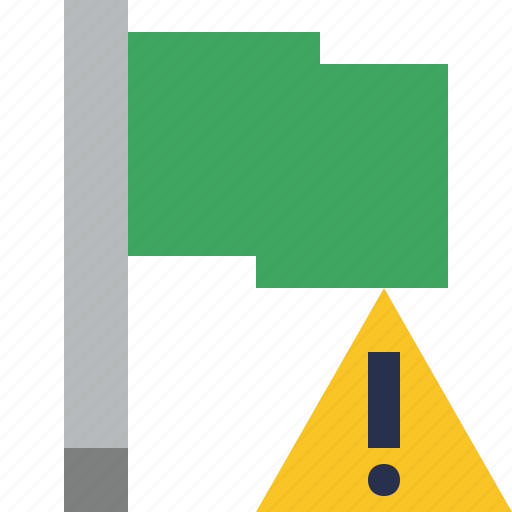 flag, green, location, marker, pin, point, warning icon