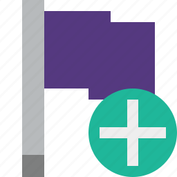 add, flag, location, marker, pin, point, purple icon