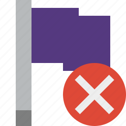 cancel, flag, location, marker, pin, point, purple icon