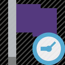 clock, flag, location, marker, pin, point, purple icon
