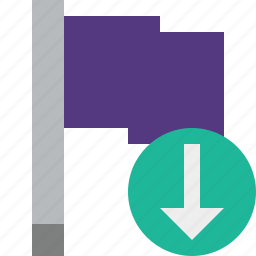 download, flag, location, marker, pin, point, purple icon