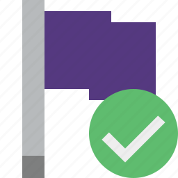 flag, location, marker, ok, pin, point, purple icon