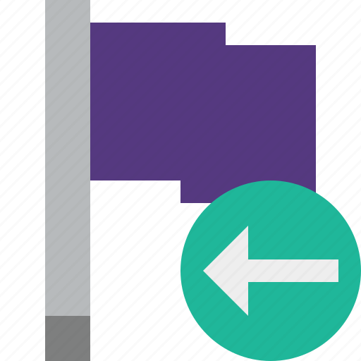 flag, location, marker, pin, point, previous, purple icon